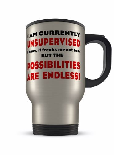14oz I Am Currently Unsupervised Funny Novelty Gift Aluminium Travel Mug